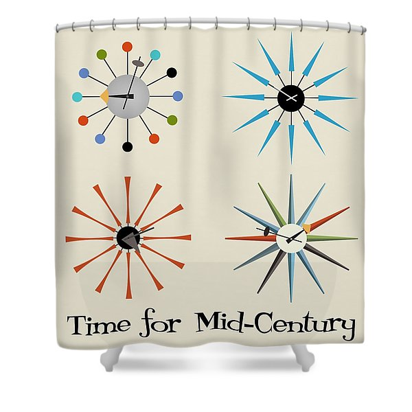 Time For Mid-century Shower Curtain