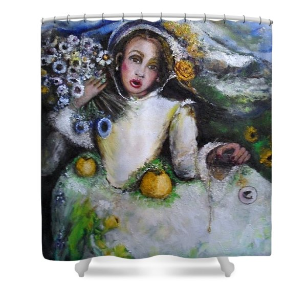 Shower Curtain featuring the painting Time by Laurie Lundquist