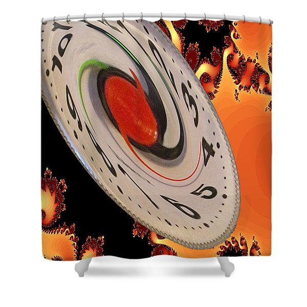 Shower Curtain featuring the digital art Time Saucer by Tristan Armstrong