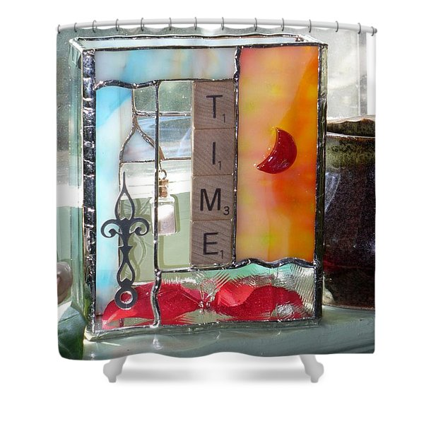 Shower Curtain featuring the glass art Time Windowsill Box by Karin Thue