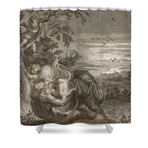 Tithonus, Auroras Husband, Turned Into A Grasshopper Shower Curtain