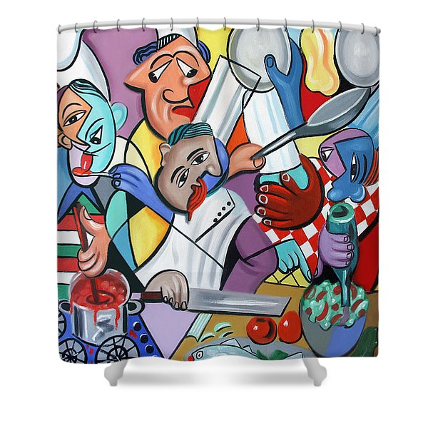 Shower Curtain featuring the painting To Many Cooks In The Kitchen by Anthony Falbo