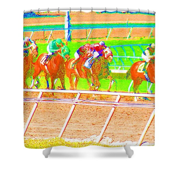Shower Curtain featuring the photograph To The Finish Line by Cynthia Marcopulos
