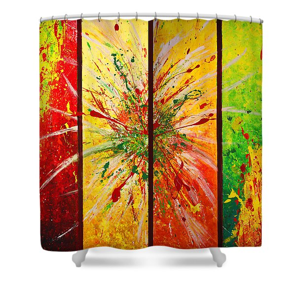 Abstract Assembled Into One Image Shower Curtain