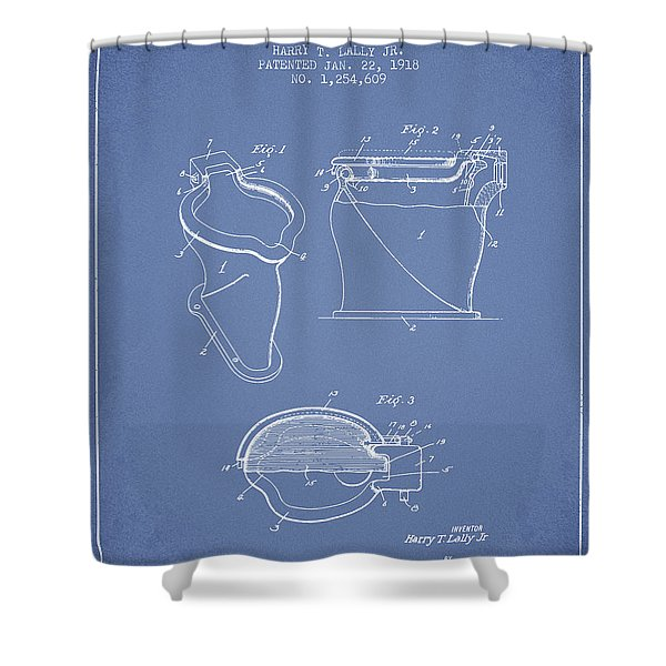 Toilet Bowl Patent From 1918 - Light Blue Shower Curtain