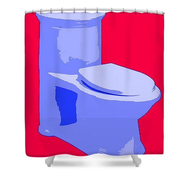 Toilette In Blue Shower Curtain