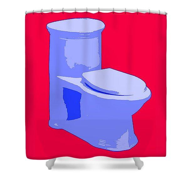 Toilette In Blue Shower Curtain