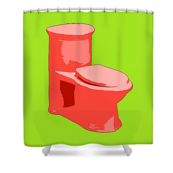 Toilette In Red Shower Curtain