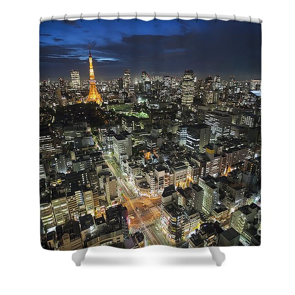 Shower Curtain featuring the photograph Tokyo Tower At Night by Bryan Mullennix