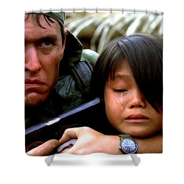 Tom Berenger In The Film Platoon - 1 Shower Curtain