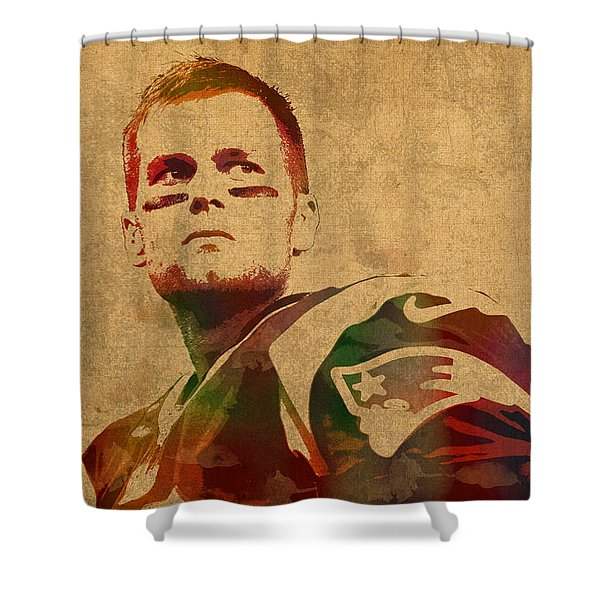 Tom Brady New England Patriots Quarterback Watercolor Portrait On Distressed Worn Canvas Shower Curtain