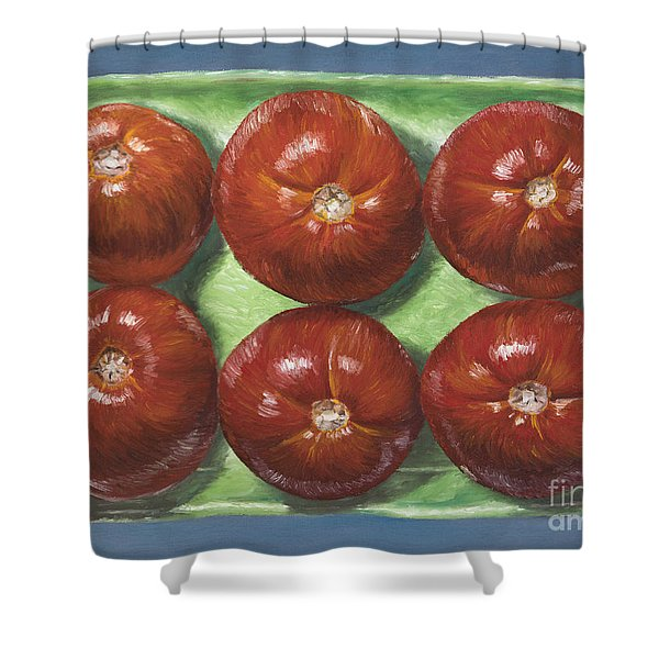 Tomatoes In Green Tray Shower Curtain