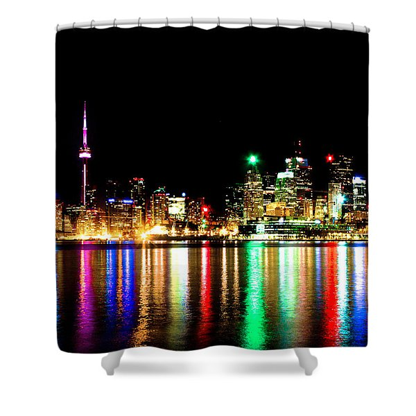 Toronto Skyline Night Shower Curtain