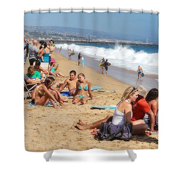 Tourist At Beach Shower Curtain