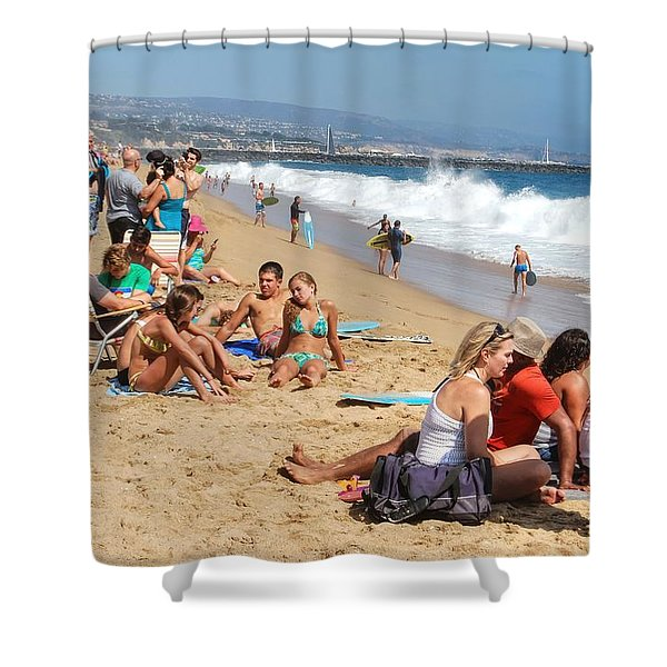 Tourist At Beach Shower Curtain
