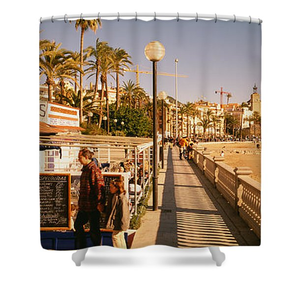 Tourists In A Cafe, Tapas Cafe, Sitges Shower Curtain