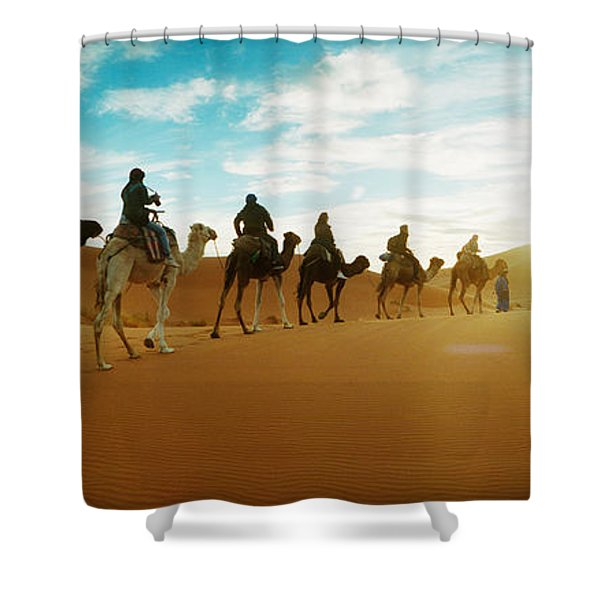 Tourists Riding Camels Shower Curtain