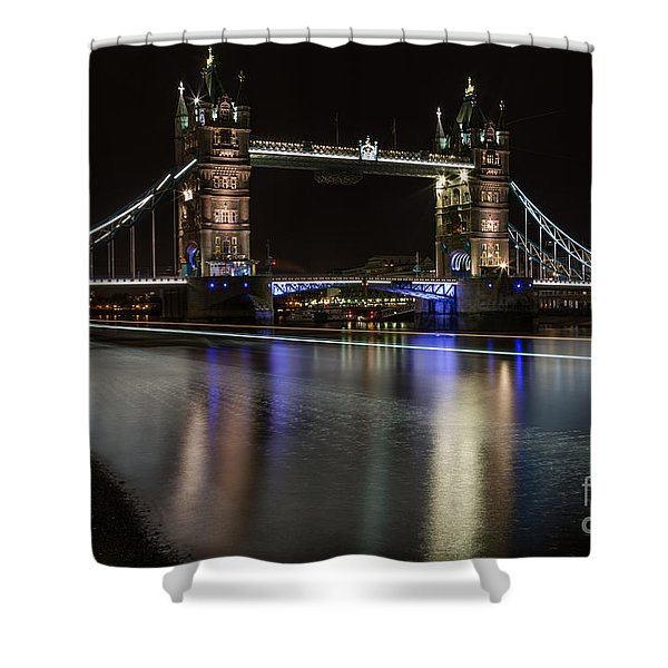 Tower Bridge With Boat Trails Shower Curtain