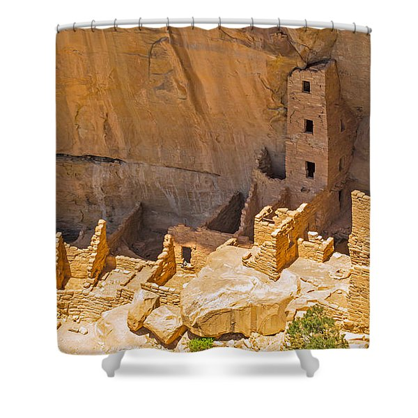 Tower House Panorama In Mesa Verde Shower Curtain