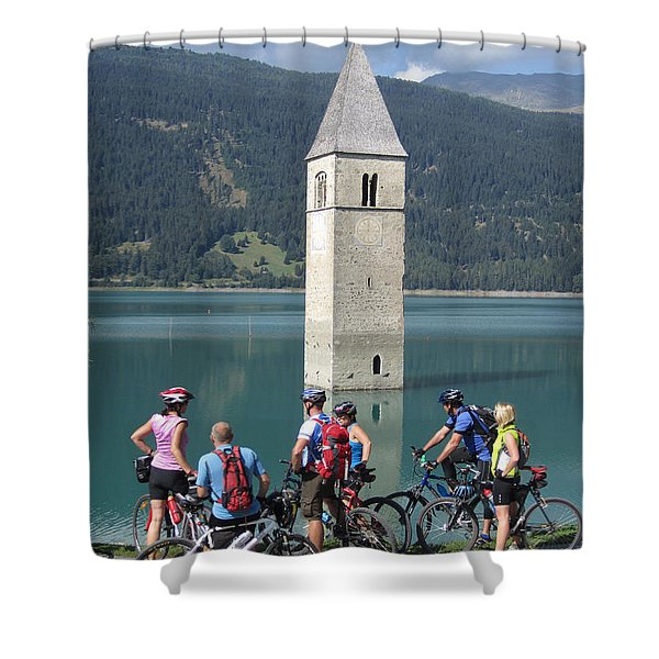 Tower In The Lake Shower Curtain