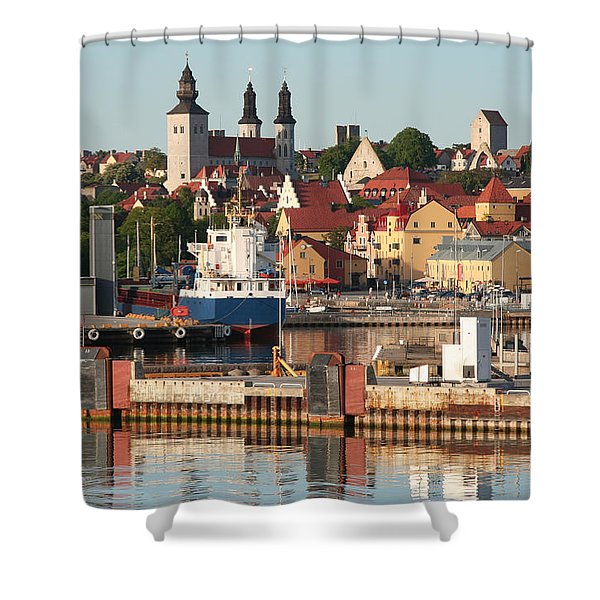 Town Harbour Shower Curtain