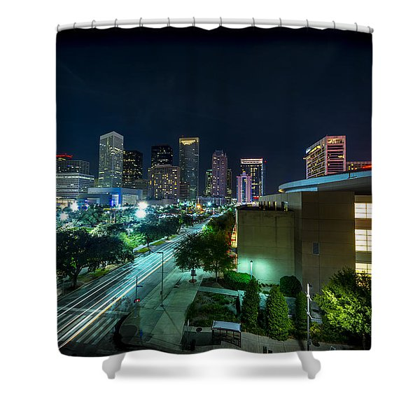 Toyota Center And Downtown Houston Shower Curtain