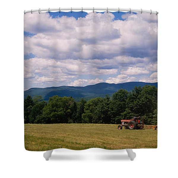 Tractor On A Field, Waterbury, Vermont Shower Curtain
