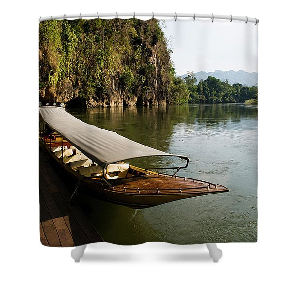 Traditional Thai Long Boat Docked Shower Curtain
