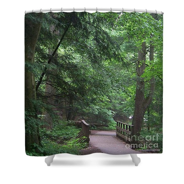 Shower Curtain featuring the photograph Trail To Ash Cave by Charles Robinson