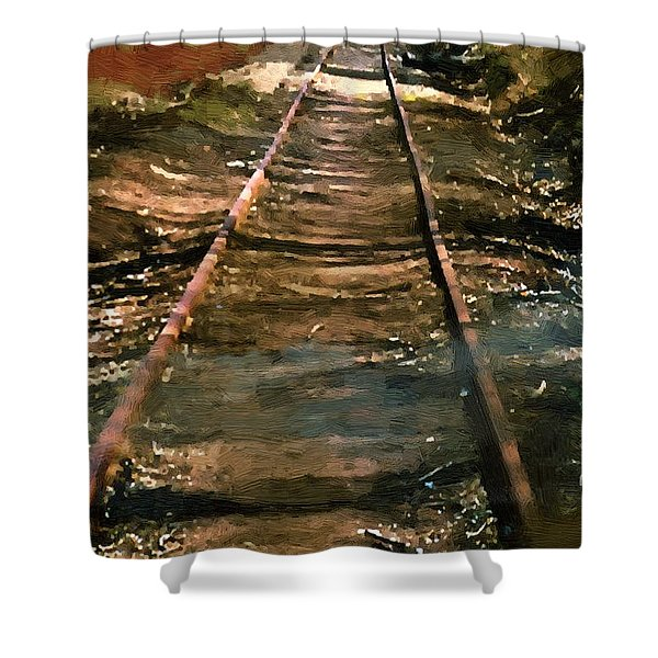 Train Track To Hell Shower Curtain