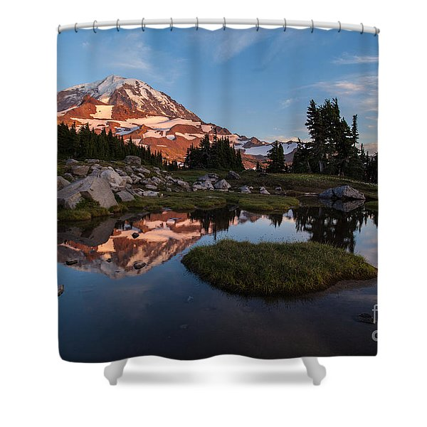 Tranquil Mountain Pool Shower Curtain