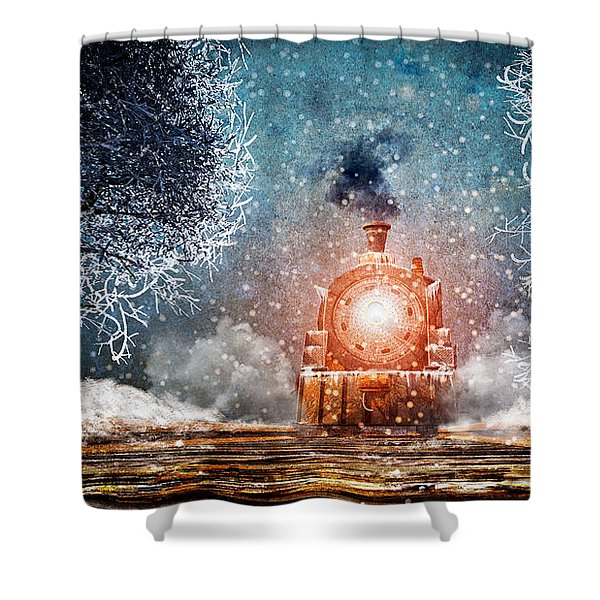Traveling On Winters Night Shower Curtain