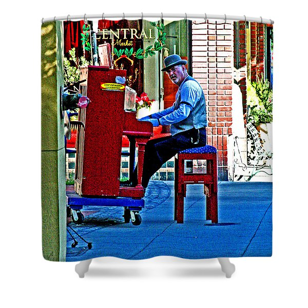Traveling Piano Player Shower Curtain