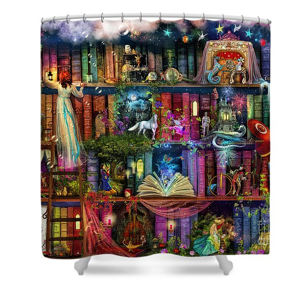 Fairytale Treasure Hunt Book Shelf Shower Curtain