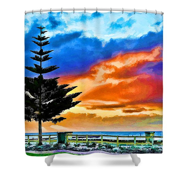 Tree And Sunset Shower Curtain