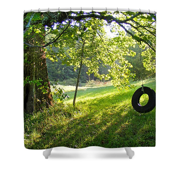 Tree And Tire Swing In Summer Shower Curtain