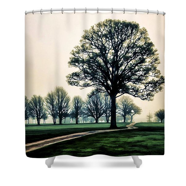 Tree At Dawn On Golf Course Shower Curtain
