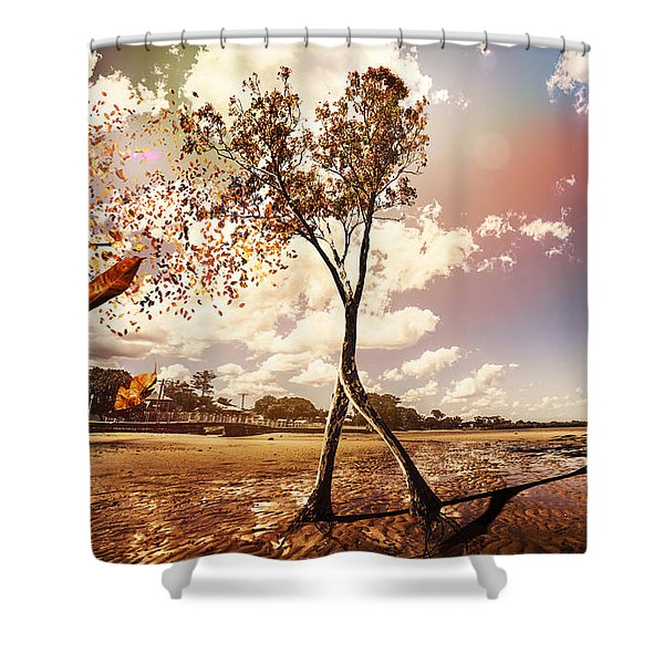 Tree Leaves On A Sea Change Shower Curtain