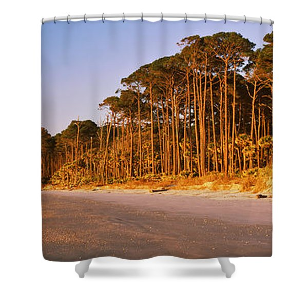 Trees Along The Shoreline, Hunting Shower Curtain