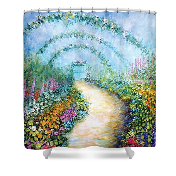 Shower Curtain featuring the painting Trellis II by Lynn Buettner