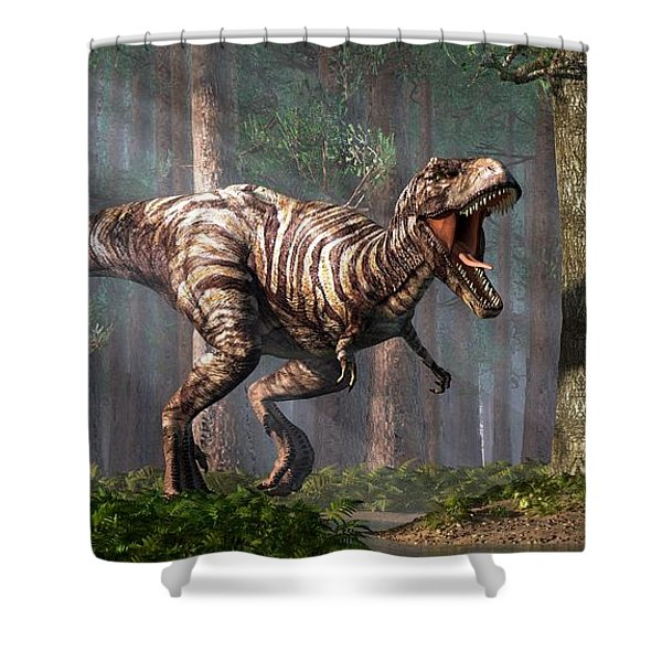 Trex In The Forest Shower Curtain