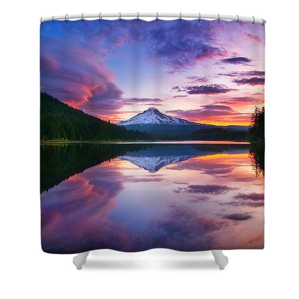 Trillium Lake Sunrise Shower Curtain