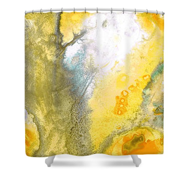 Triumph - Yellow Abstract Art By Sharon Cummings Shower Curtain