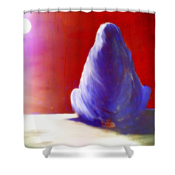 I'm Always Sitting Alone Under The Full Moon  Shower Curtain