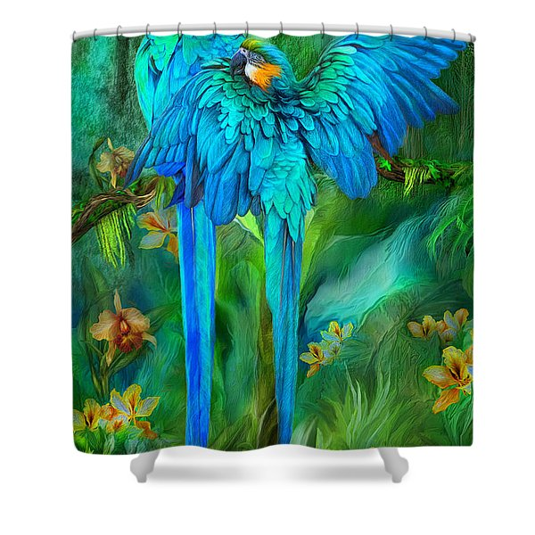 Tropic Spirits - Gold And Blue Macaws Shower Curtain