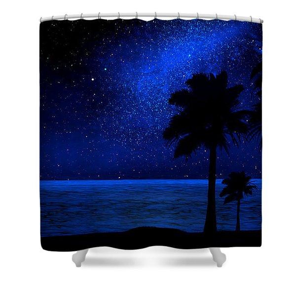 Tropical Beach Wall Mural Shower Curtain