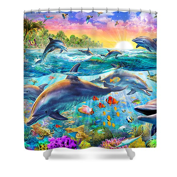 Tropical Dolphins Shower Curtain