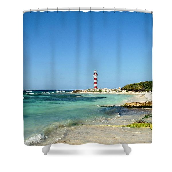 Tropical Seascape With Lighthouse Shower Curtain