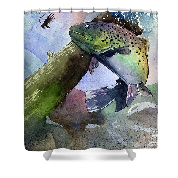 Trout And Fly Shower Curtain