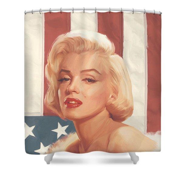 True Blue Marilyn In Flag Shower Curtain